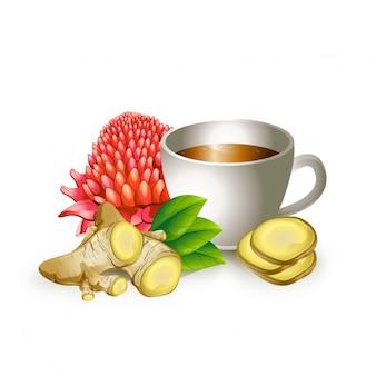 Иллюстрация чашка здорового чая
