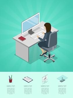 コンピューターのインフォグラフィックでオフィスで働くビジネスウーマン
