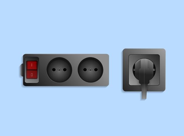 Реалистичная черная электрическая розетка с вилкой