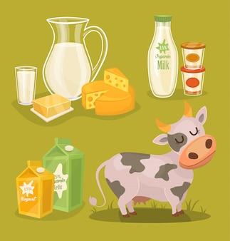 Молочные продукты на деревянный стол, молоко, значок
