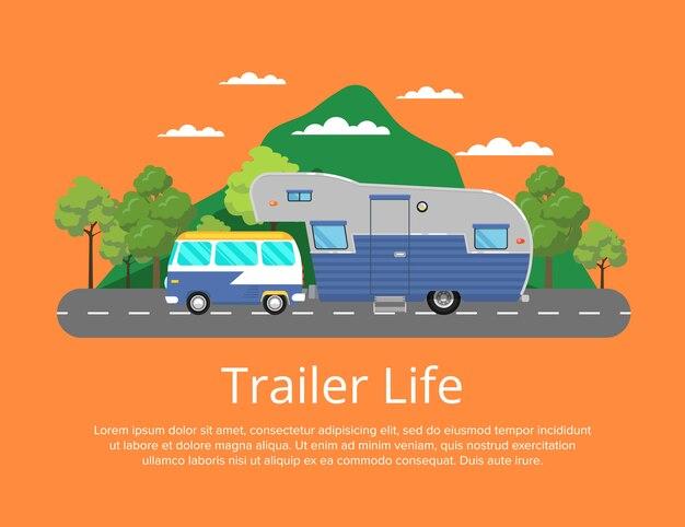道路上のキャンプトレーラーとトレーラーライフポスター