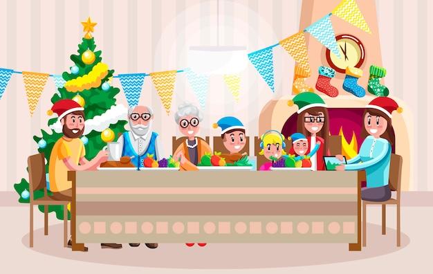 クリスマスを祝う幸せな家族