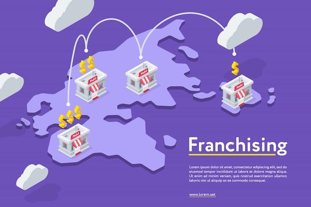 Сеть магазинов франчайзинга на фиолетовом