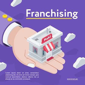 Рука, держащая магазин франчайзинга