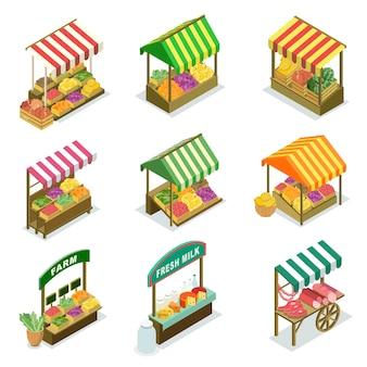 露店ブースと農産物市場の食品カウンター