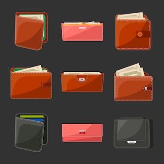 さまざまな革製の財布と財布セット