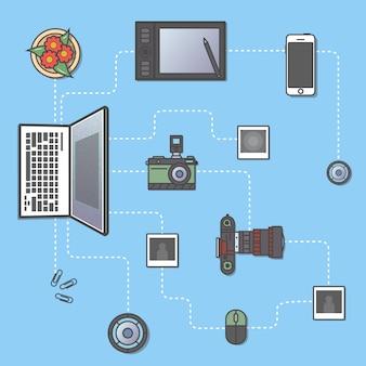 Фотография и обработка инфографики концепция