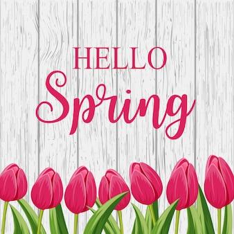 ピンクの咲くチューリップとこんにちは春