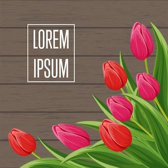 咲くチューリップと春の背景