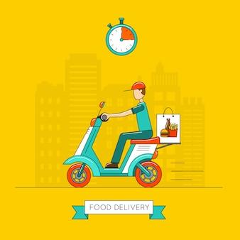 Дизайн доставки еды, векторная иллюстрация