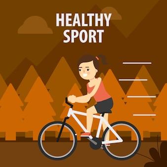 アウトドアスポーツ。路上でサイクリングの女の子。