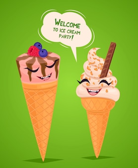 Плакат с забавным мороженым