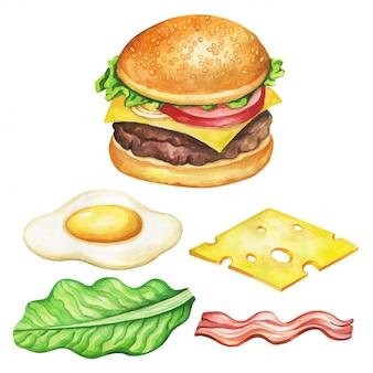 ハンバーガーの成分の水彩画。