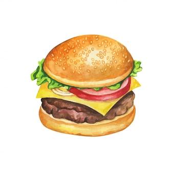 チーズバーガーの水彩画。