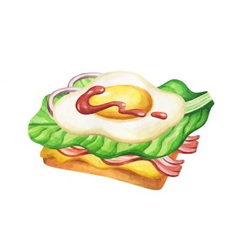 サンドイッチの水彩画。水彩イラストのファーストフードの食事。