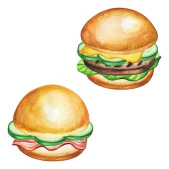白い背景のファーストフードの食事水彩画。
