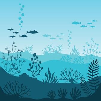 海洋水中生物。サンゴ礁のシルエット
