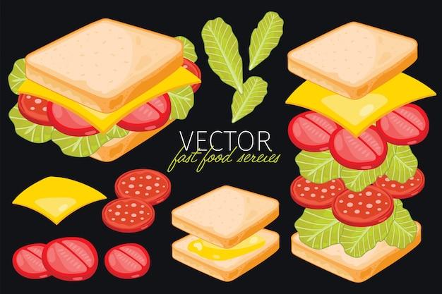 Бутерброд на черном фоне.