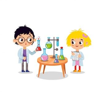 Химическая лаборатория. маленькие дети учёные