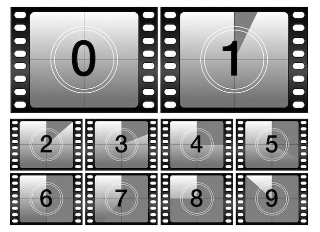 カウントダウンフレーム。古典的な古い映画映画タイマー