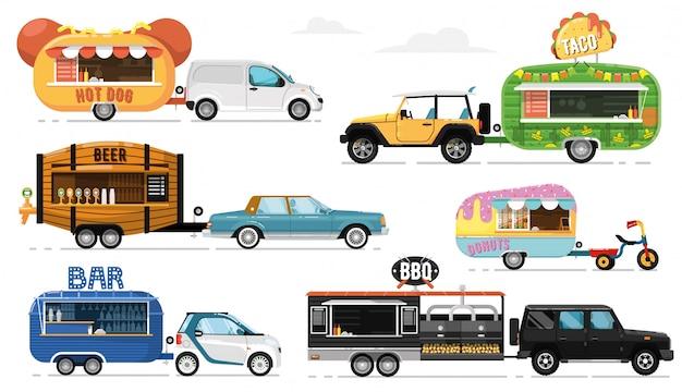 屋台。ストリートフードキャラバンモバイルレストランアイコン。孤立したホットドッグ、タコス、ビールドリンク、ドーナツ、バーベキュー、バー、ホイールコレクションのカフェ。トレーラートラック輸送、食品輸送の側面図