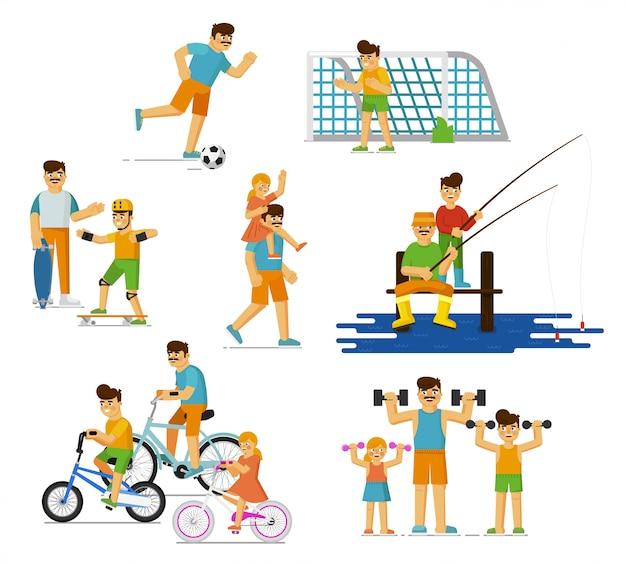 Отец и ребенок установлены. родительские детские семьи играют в футбол, скейтбординг, ходьба, рыбалка, езда на велосипеде, делать уличные упражнения летом изолированный отец, занятия спортом ребенка, здоровый образ жизни
