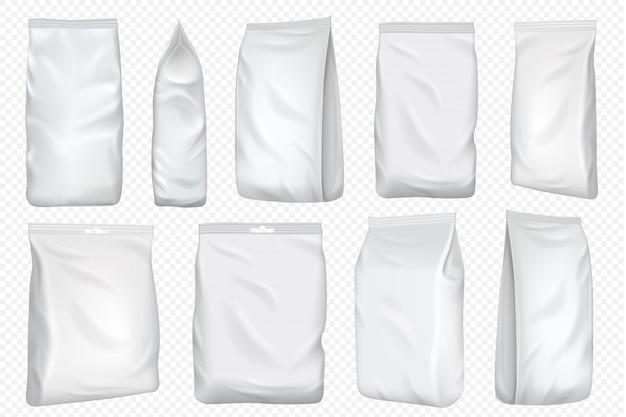 フォイルバッグ。プラスチックパックと紙のポーチテンプレート。透明な背景に分離されたスナックの空白の食品箔バッグ。コーヒーとティーパックのデザインを模した白いパッケージ。
