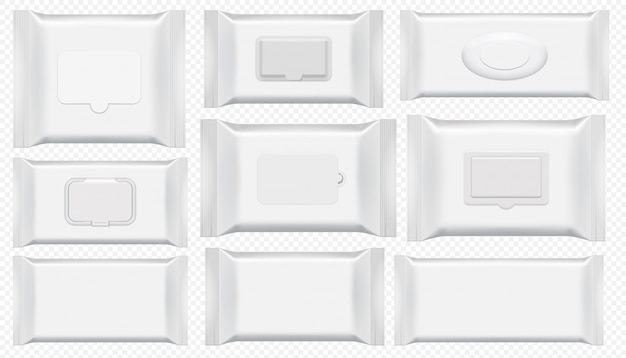 Пакет влажных салфеток. антибактериальный протрите пластиковый пакет шаблон изолированные набор. пустой белый ящик вид сверху для мокрой туалетной бумаги. косметическая пленка на прозрачном фоне