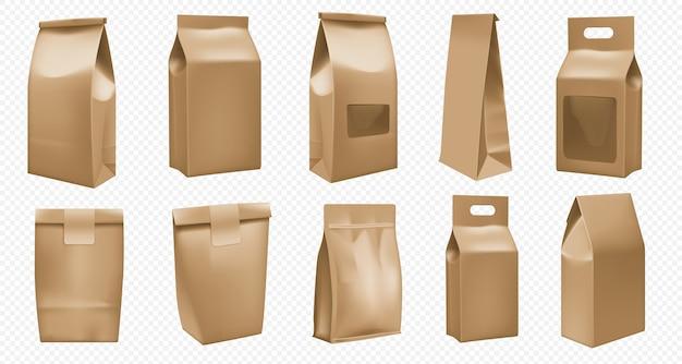 テイクアウトフードクラフトパッケージテンプレート。パックデザインのブラウンバッグ。現実的なテイクアウトファーストフードポーチモックアップ分離セット。コーヒーと紅茶の空白の紙箱。段ボール箱