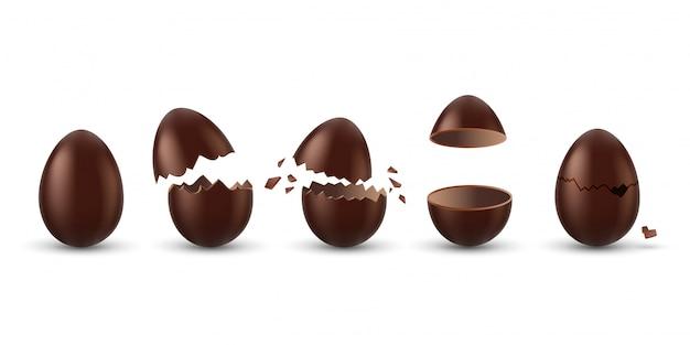 チョコレートの卵セット。全体、壊れた、爆発した、割れた、開いた茶色の卵のコレクション。現実的な甘いチョコレートのお菓子のデザートアイコン。イースター休暇のお祝いのコンセプト