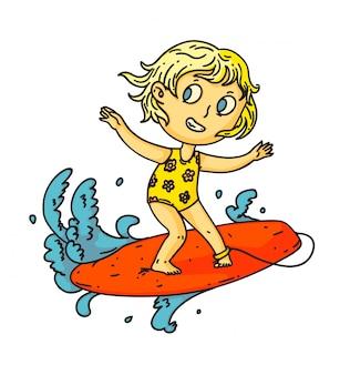 子供のサーフィン。海や海の波のサーフボードでサーフィン孤立した子供の女の子。ベクトル子供人漫画のキャラクターがサーフボードの上に立って。夏休みスポーツ描画