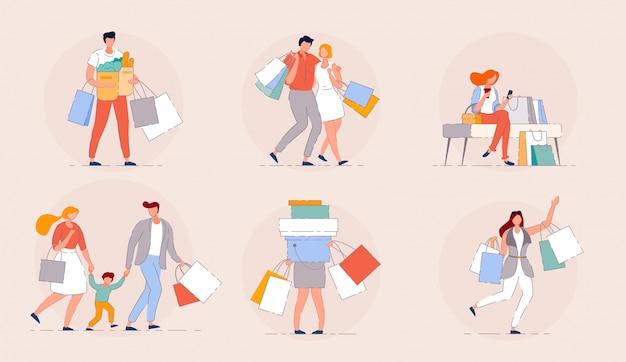 ショッピングの人々。幸せな家族のショッピングモールの販売シーズンコンセプト。買い物をした人の買い物袋のグループ。漫画のカップル顧客分離ベクトル。バッグのあるモールに座っている幸せな女の子。