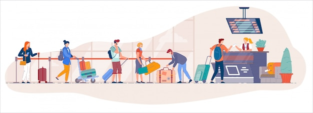 空港チェックインデスク。空港ターミナルからの旅行者キューは、セキュリティラインへのドロップオフ荷物のカウンターをチェックインします。出発への登録のためにスーツケースを持つ漫画ベクトル人がキューに立つ