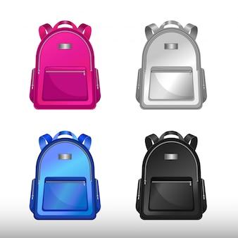 スクールバッグセット。バックパックのシンボル。孤立したスクールバッグベクトル。