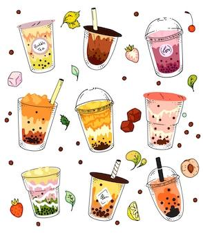 バブルティーセット。ガラスとプラスチックのテイクアウトカップコレクションで孤立した氷冷パールミルクティー飲料。ベクトルアジア夏バブルティードリンクデザインイラスト
