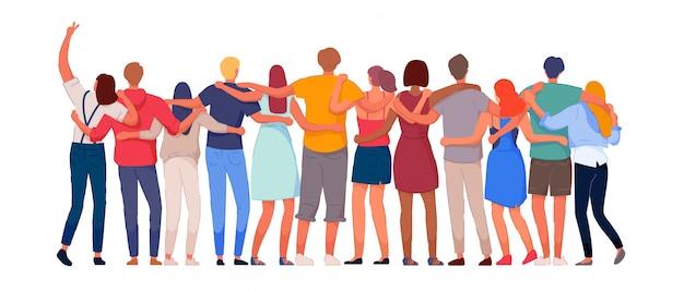 幸せな人々。多様な多民族の人々キャラクターグループ一緒に立って後ろ姿を抱き締めます。国家の結束、連帯と団結のイラスト。国際友情通信ベクトル