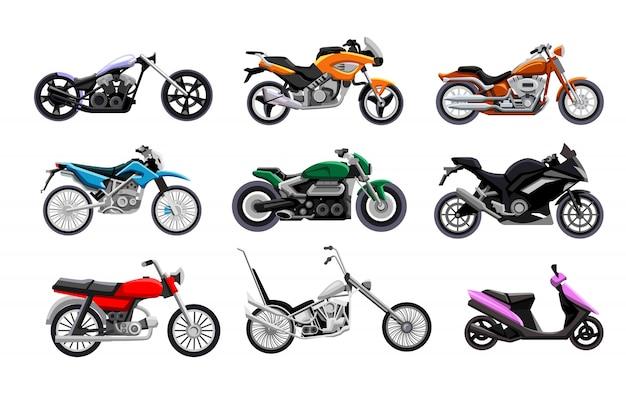 バイクセット。孤立したオートバイ、スクーター、チョッパー、スポーツバイクコレクション。モーター輸送、バイクデザインベクトルイラスト