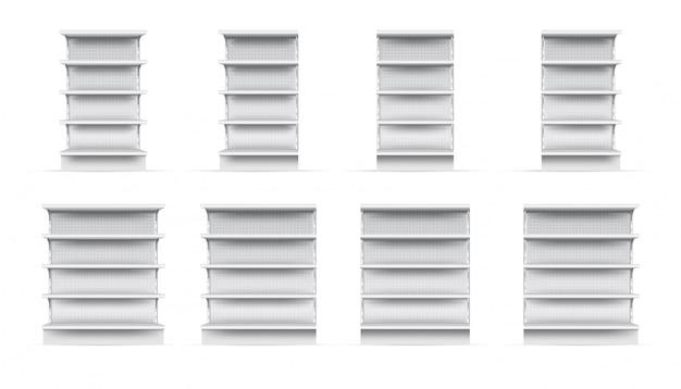 店舗棚セット。孤立した空のスーパーストアショーケース棚スタンドコレクション。現実的な空白の小売店は穴があいた棚を表示します。ベクトル市場とビジネスコンセプト
