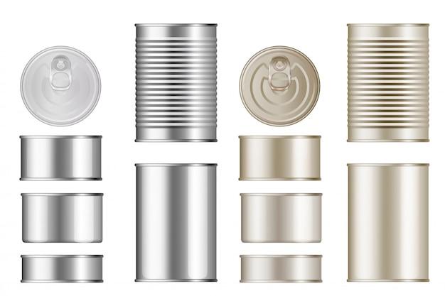 ブリキ缶セット。孤立した空白缶詰金属容器