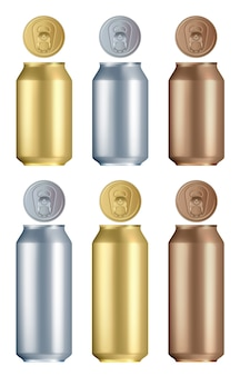 アルミ缶セット。孤立した空白の黄金、銀、青銅のアルミまたはスチールのドリンク缶