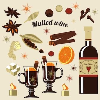 グリューワインの材料。