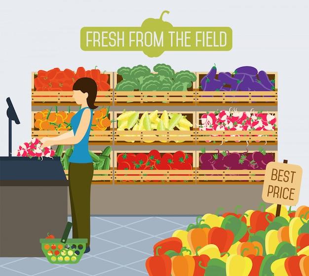 野菜のスーパーマーケットの棚。