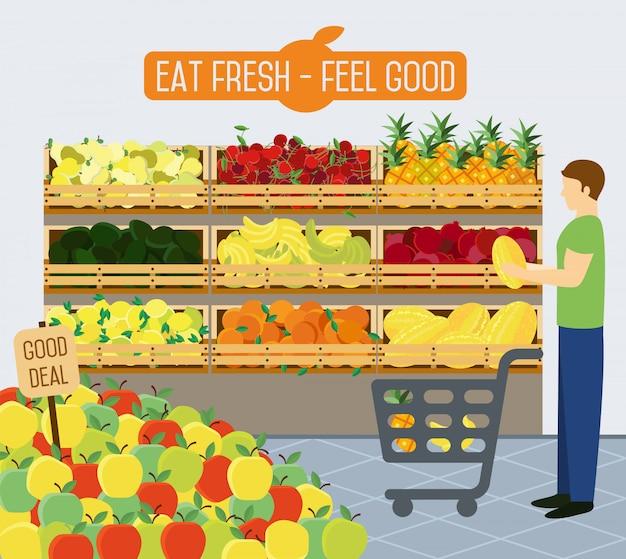 Супермаркет полки с овощами.