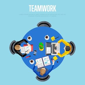 チームワークの概念。トップビューワークスペース