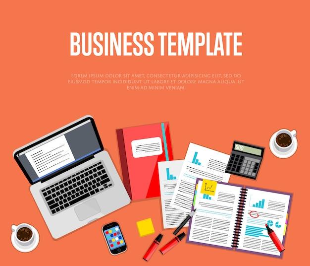 Бизнес шаблон. рабочая область сверху