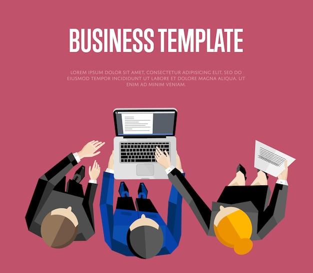 Бизнес шаблон. вид сверху группа людей