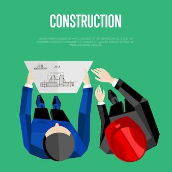 Строительная иллюстрация с текстовым шаблоном. вид сверху инженеров-строителей