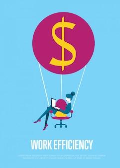 Иллюстрация эффективности работы. женщина с ноутбуком летать