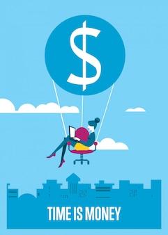 Время деньги иллюстрации. женщина с ноутбуком летать