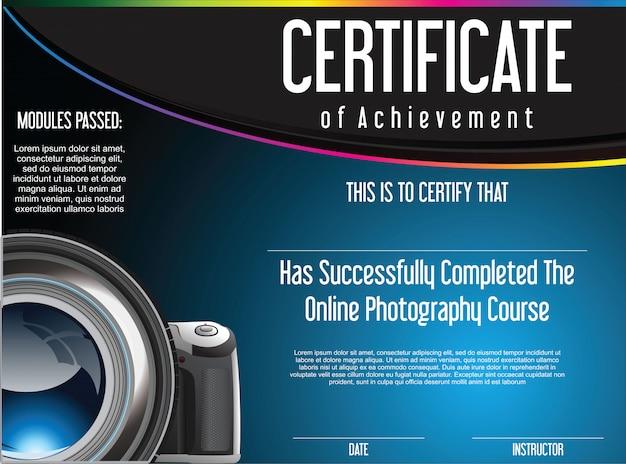 オンライン写真コースの成績証明書